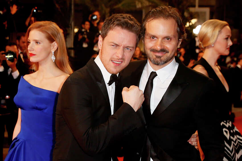 From left, actress Jessica Chastain, actor James McAvoy and director Ned Benson pose as they arrive for the screening of Wild Tales (Relatos Salvajes) at the 67th international film festival, Cannes, southern France, Saturday, May 17, 2014.