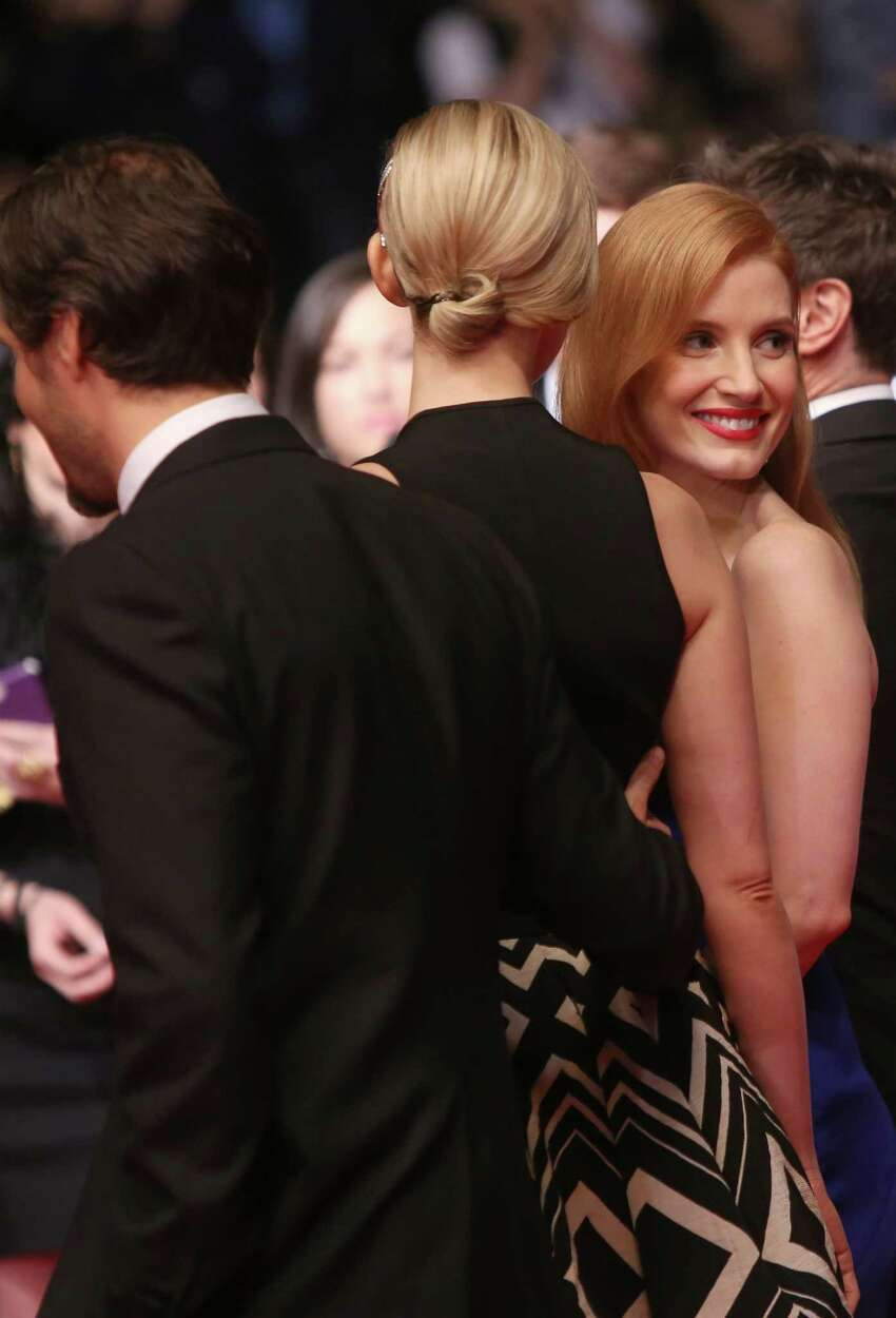Actress Jessica Chastain, right, on the red carpet for the screening of Wild Tales (Relatos Salvajes) at the 67th international film festival, Cannes, southern France, Saturday, May 17, 2014.