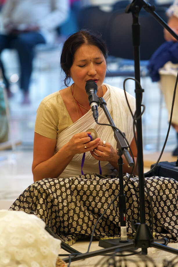 Surya Nandini Devi Dasi sings at the Hare Krishna Temple and Cultural Center, Saturday, May 17, 2014, in Houston. Photo: Cody Duty, Houston Chronicle / © 2014 Houston Chronicle