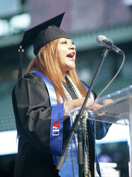 """Maria Chavez Berry, UHD graduate: """"Looking ahead, you will have trials and you will encounter hardships, but don't ever allow your circumstances to determine your future. Don't let your situation dictate your life. ... We simply have to try."""" Photo: UHD Courtesy / John Everett, 2014"""