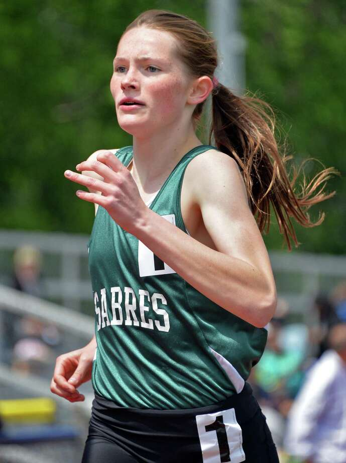 Shalmont's Julie Flower sets a meet record as she wins the girl's 1500m during the annual Eddy Meet for outdoor track and field Saturday May 17, 2014, in Schenectady, NY.  (John Carl D'Annibale / Times Union) Photo: John Carl D'Annibale / 00026899A
