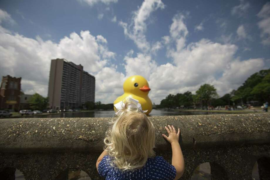 "Addyson Mikell, 2, peaks over the wall at the Hague for a look at the 40- foot ""Rubber Duck""  by artist Florentijn Hofman  at the Chrysler Museum of Art in Norfolk, Va, on Saturday, May 17, 2014. With her were her parents Jennifer and Chris Mikell of Suffolk. Photo: Bill Tiernan, Associated Press / The Virginian-Pilot"