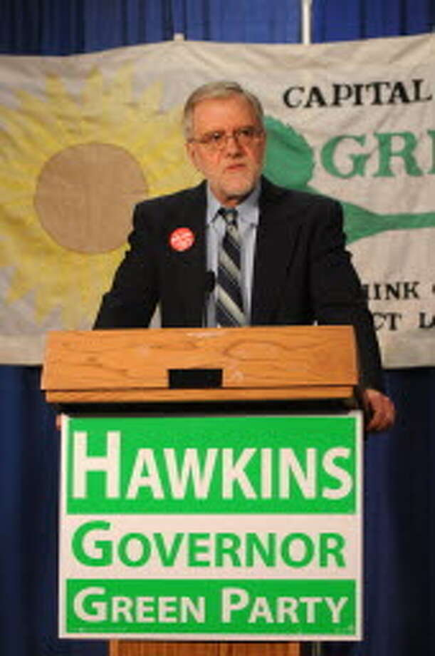 Howie Hawkins, the Green Party candidate for governor, speaks during a news conference Wednesday, April 9, 2014, at the Legislative Office Building in Albany, N.Y. He is the party's choice to run for governor in November after the convention in Troy on May 17. (Will Waldron/Times Union)