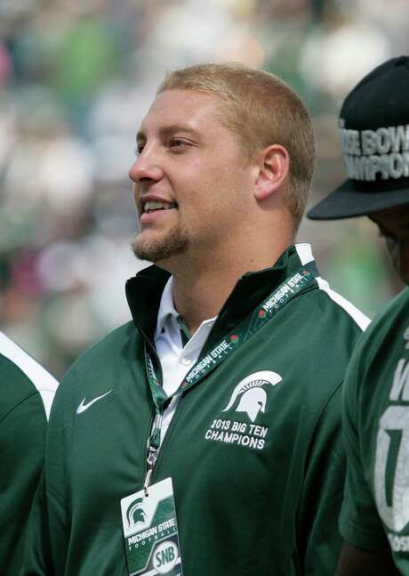 Former Michigan State player Max Bullough attends a halftime ceremony honoring the 2013 team during an NCAA college spring football scrimmage on Saturday, April 26, 2014, in East Lansing, Mich. (AP Photo/Al Goldis) Photo: Al Goldis, FRE / FR11125 AP