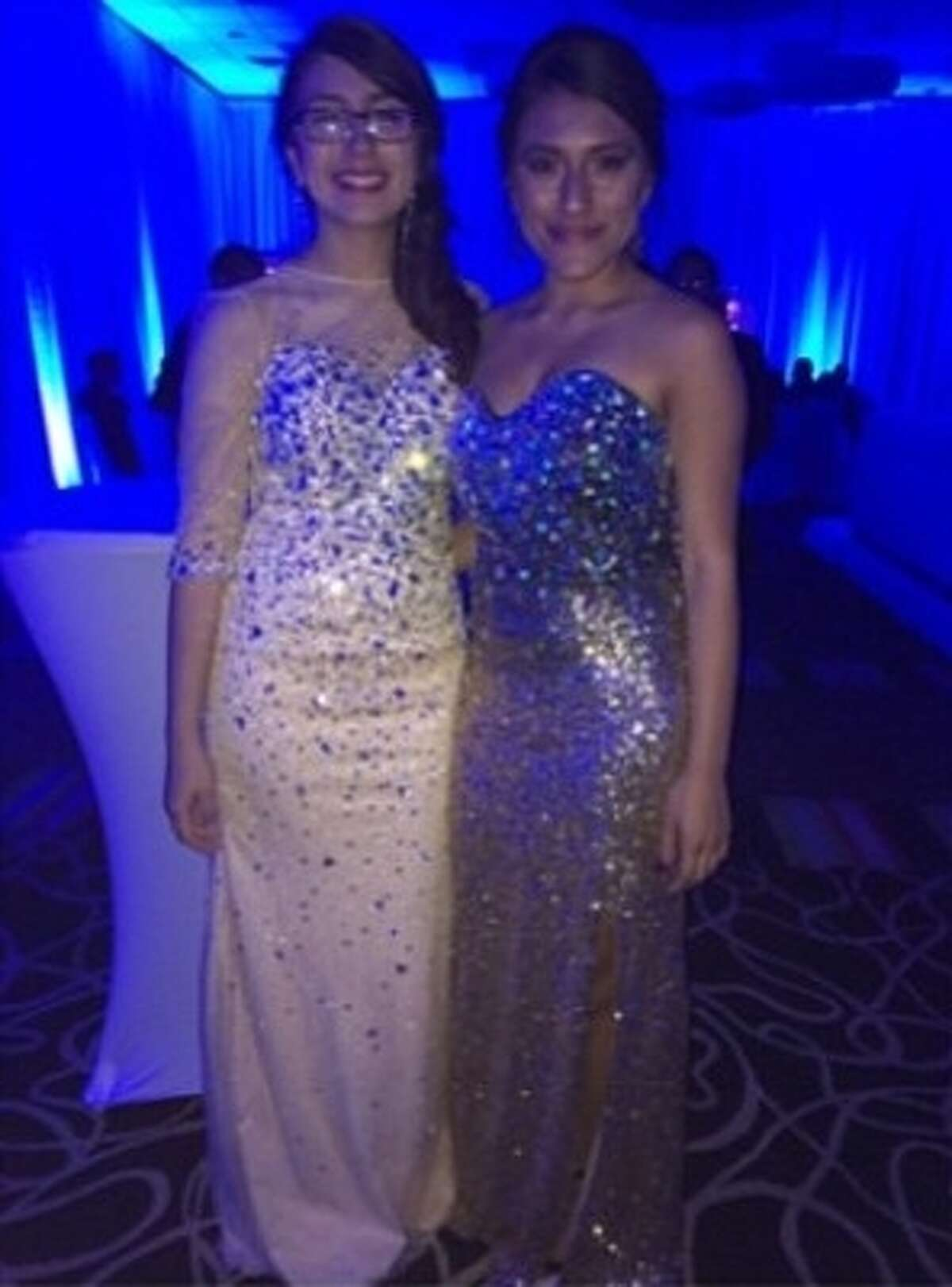 Jackie Gomez (left) was with her friend Justice Gonzalez on prom night.