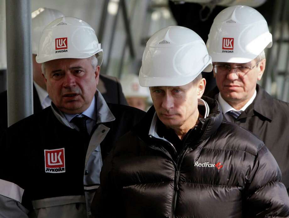 Russia's Vladimir Putin, at an oil rig in the Caspian Sea in 2010, gained oil and gas reserves in the Black Sea, which analysts say may rival those in the North Sea. Photo: ALEXEI DRUZHININ, POOL / POOL