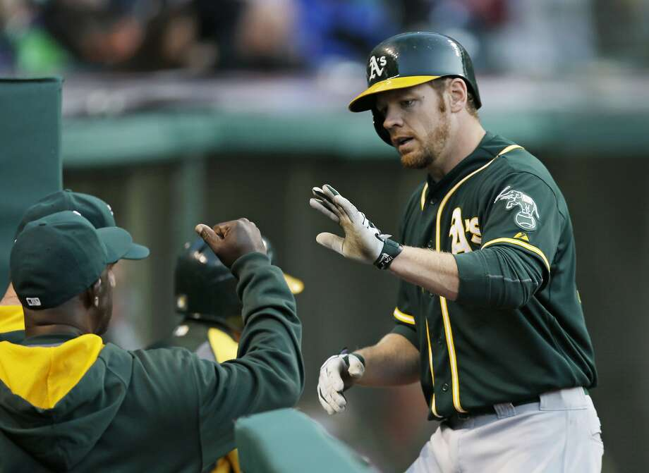 Brandon Moss hit a two-run homer off Josh Tomlin in the third. Photo: Tony Dejak, Associated Press