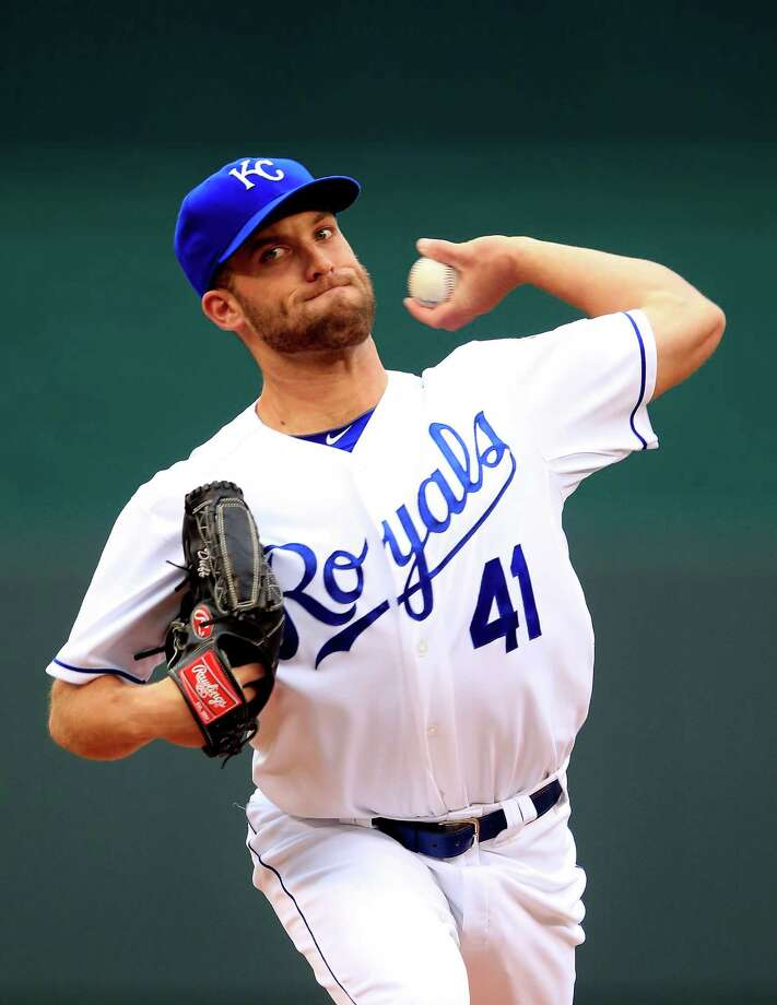 KANSAS CITY, MO - MAY 17:  Starting pitcher Danny Duffy #41 of the Kansas City Royals warms up just prior to the game against the Baltimore Orioles at Kauffman Stadium on May 17, 2014 in Kansas City, Missouri.  (Photo by Jamie Squire/Getty Images) ORG XMIT: 477583347 Photo: Jamie Squire / 2014 Getty Images