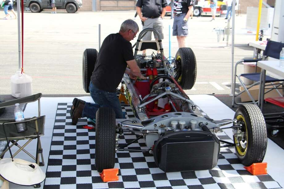 John Fitzpatrick working on a 1963 Lotus 27 Formula Jr.