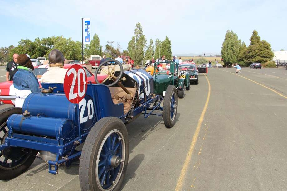 After Saturday's races, some of the older cars caravaned to Sonoma.