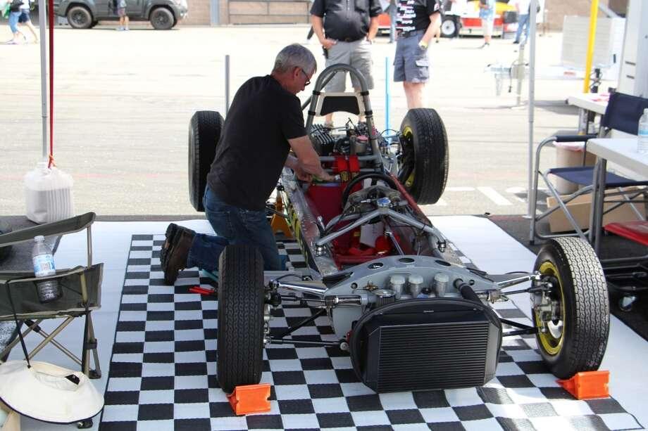 John Fitzpatrick working on a 1963 Lotus 27 Formula Jr.