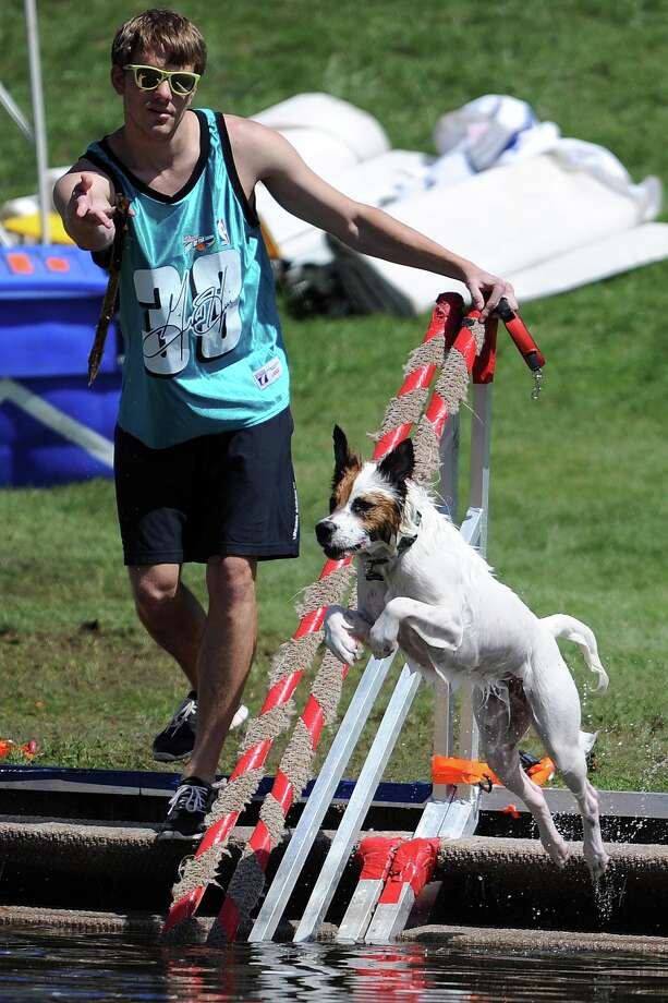 Jordan Bowman throws a stick for his collie mix Nash to fetch during the Ironman Texas triathlon, Saturday, May 17, 2014, in The Woodlands. Photo: Eric Christian Smith, For The Chronicle