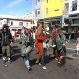Salmon swimming upstream. These folks are doing Bay to Breakers in reverse!
