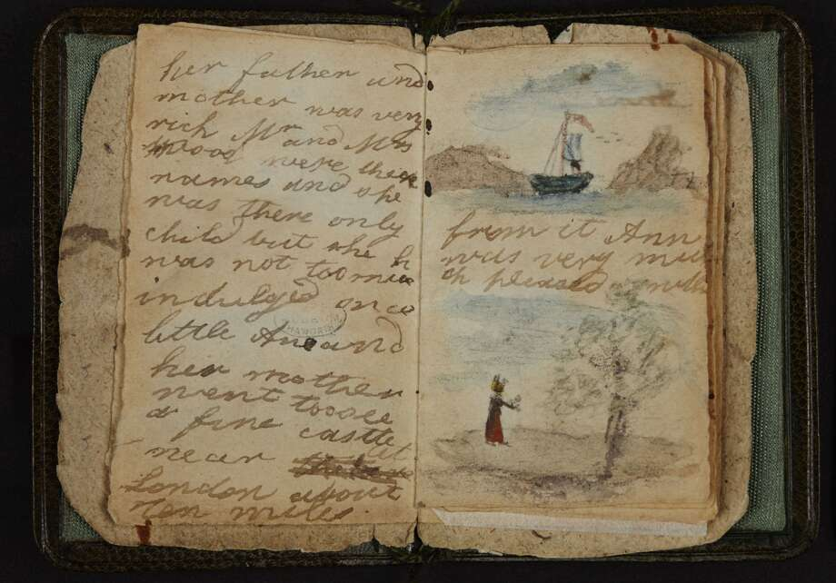 This undated image made available by The British Library in London, Friday, May 16, 2014, shows Charlotte Bronte's earliest known effort at writing, a short story written for Anne, the baby of the family. It it also the first of the little books made by the Bronte children and, as such, it does not reach the level of technical sophistication that they were later to achieve. The writing is a clumsy longhand, there is no title page or contents list and no attempt is made to imitate magazine format. The British Library is putting hundreds of its most valuable literary resources online, from the Bronte sisters' childhood writings to William Blake's notebook. Photo: Uncredited, AP  / AP2014