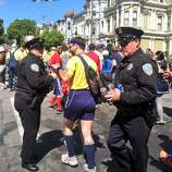 Cops not too harsh, just snatching beers out of people's hands on Hayes hill.