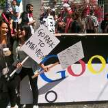 Somehow a Google bus got through at Bay to Breakers.