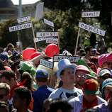 Many of the famous San Francisco streets were represented. The annual Bay to Breakers event in San Francisco, Calif.  attracted thousands of runners and revelers as they made their way up the Hayes Street Hill Sunday May 18, 2014.