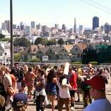 Now that Alamo Square Park is closed, the party seems to be in the middle of Hayes street.
