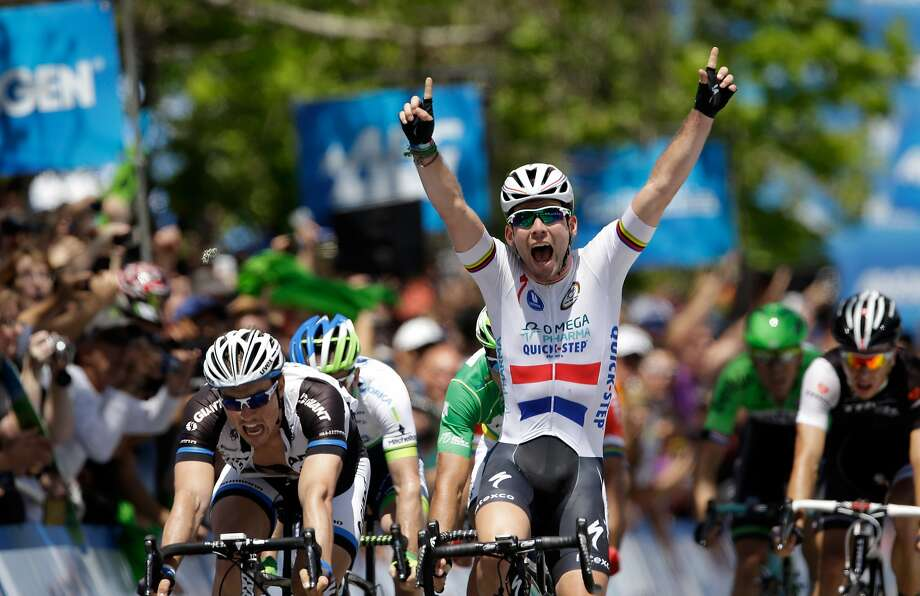 Mark Cavendish of Great Britain riding for the Omega Pharma-Quickstep Cycling Team celebrates after he beat John Degenkolb of Germany riding for Team Giant-Shimano to win stage eight of the 2014 Amgen Tour of California on May 18, 2014 in Thousand Oaks, California.  Photo: Ezra Shaw, Getty Images