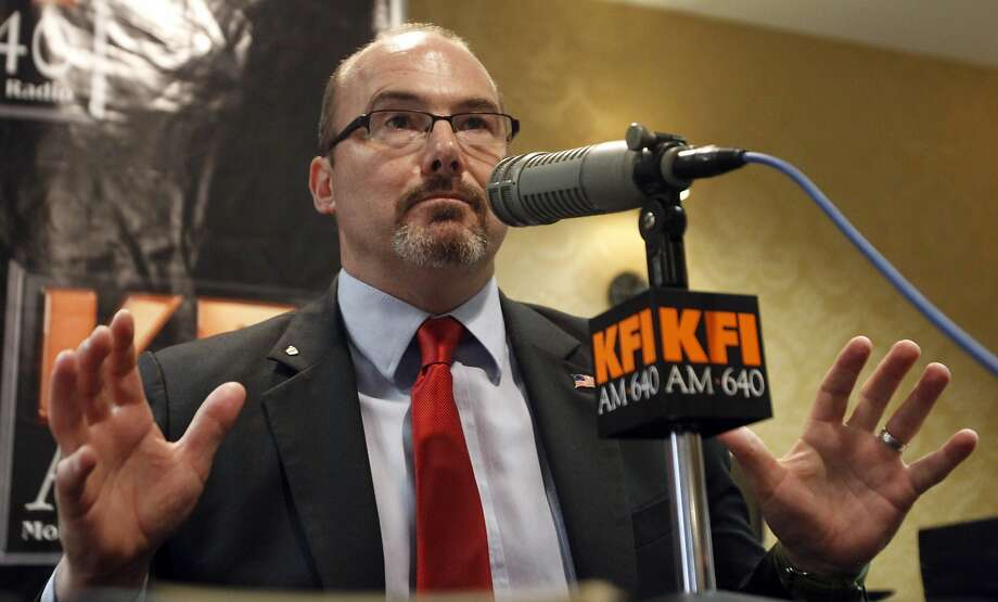 California Republican gubernatorial candidate State Assemblyman Tim Donnelly faces off against Neel Kashkari in a radio debate last week. The latest polls show Donnelly with 15 percent of the vote. Photo: Alex Gallardo, Associated Press