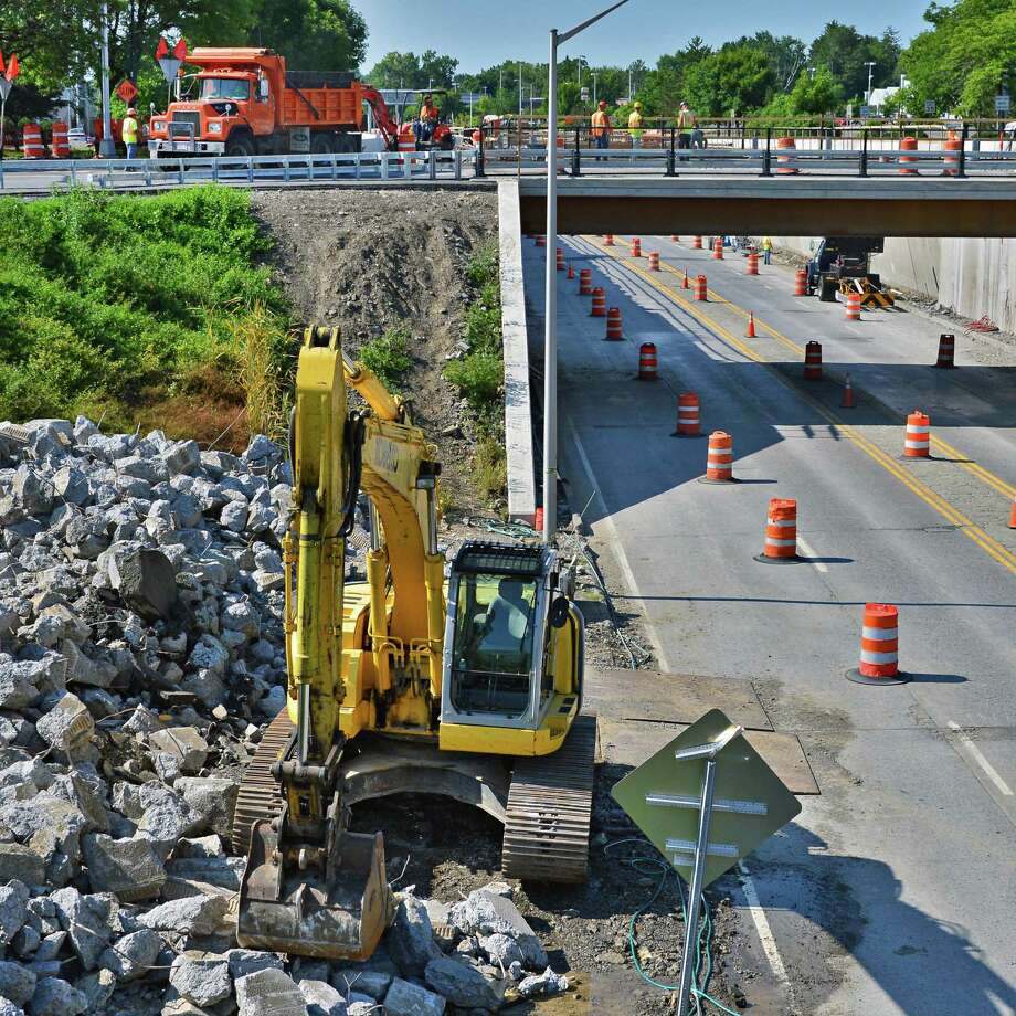 Work continues on the Latham Circle Monday Aug. 12, 2013, in Colonie, NY.   (John Carl D'Annibale / Times Union) Photo: John Carl D'Annibale