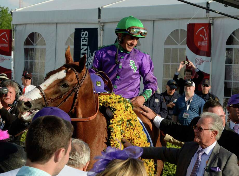 California Chrome, with jockey Victor Espinoza in the irons receives the winner's blanket of flowers after winning the second leg of thoroughbred racing's Triple Crown with his win in the 139th running of The Preakness Stakes Saturday evening May 17, 2014 at Pimlico Race Course in Baltimore, Maryland.   Standing with California Chrome is trainer Art Sherman, lower right.   (Skip Dickstein / Times Union) Photo: SKIP DICKSTEIN