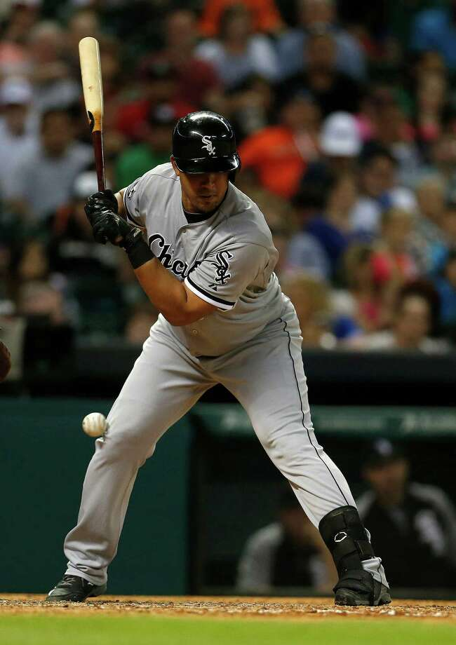A rough weekend in Houston for White Sox rookie sensation Jose Abreu included getting hit by a pitch Friday and having to leave Saturday's game with ankle pain from an injury that sent him to the disabled list. Photo: Karen Warren, Staff / © 2014 Houston Chronicle