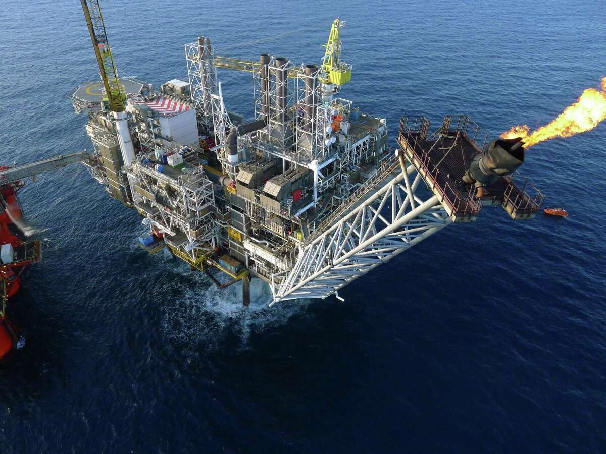 This drone s-eye view from an unmanned aerial vehicle operated by Cyberhawk, one of the United Kingdom s leading drone companies, helps inspectors examine a flaring stack on an offshore production platform. (Cyberhawk photo)