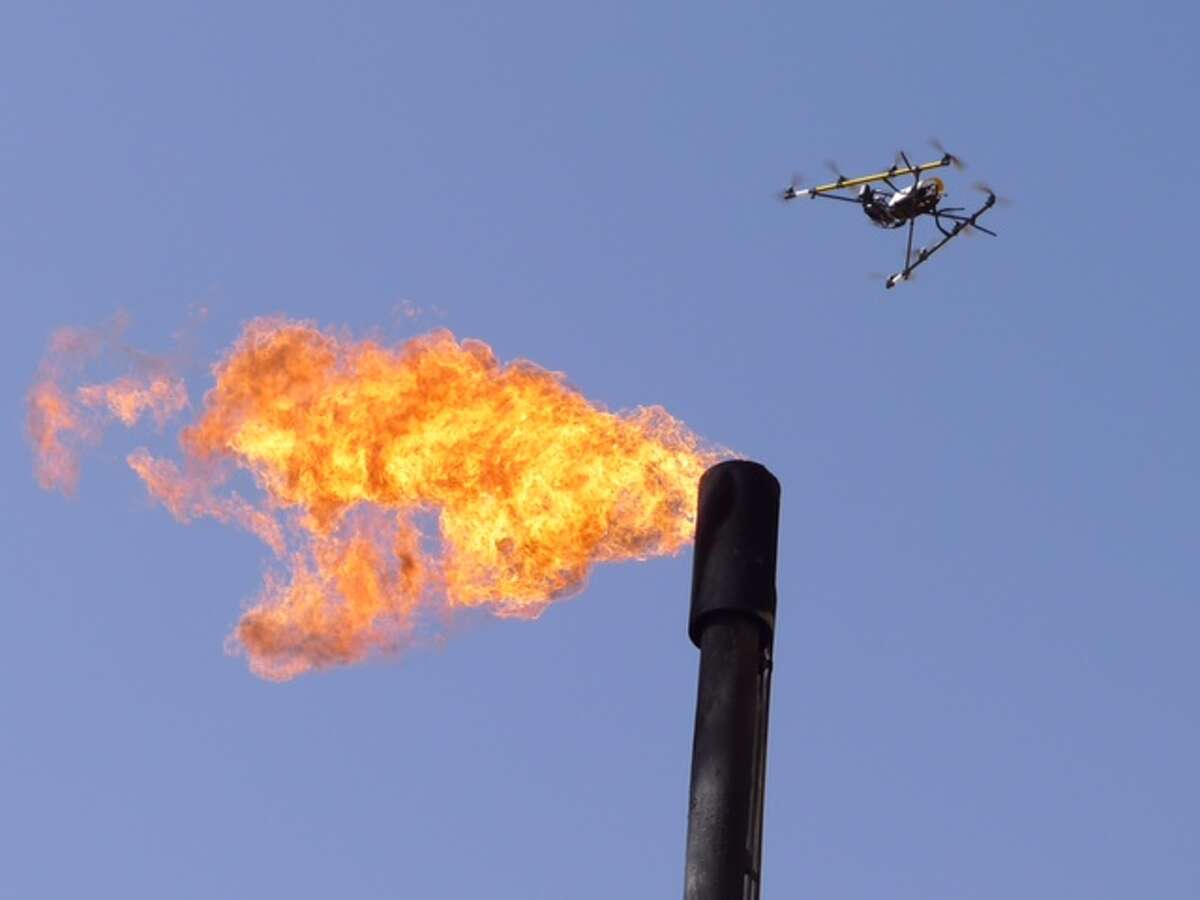 Unmanned aircraft could allow energy companies to inspect still-functioning refineries for damage and avoid lengthy planned shutdowns that manual inspections require.