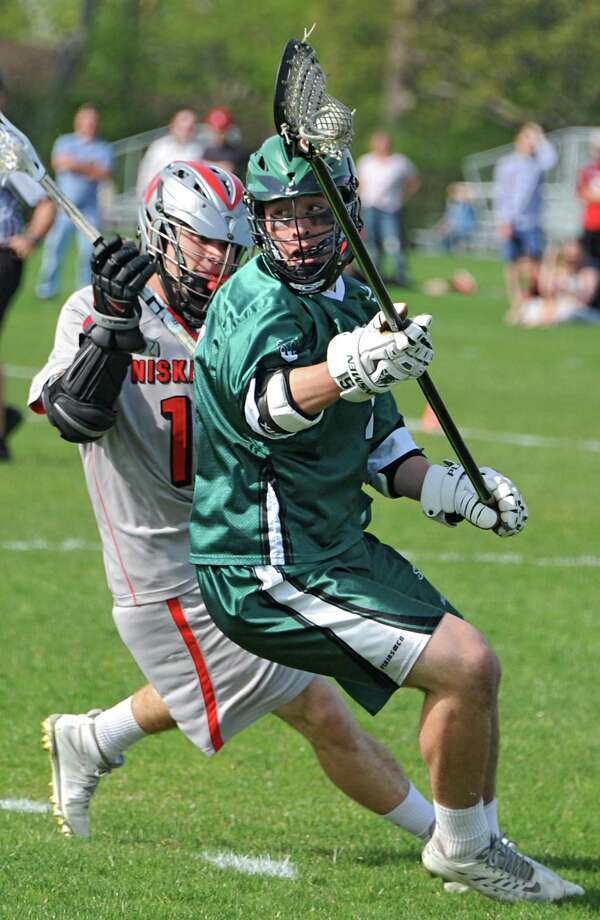 Shenendehowa's Ian Grey, right, is defended by  Niskayuna's Lucas Quinn during a lacrosse game Tuesday, May 13, 2014 in Niskayuna, N.Y.  (Lori Van Buren / Times Union) Photo: Lori Van Buren / 00026857A