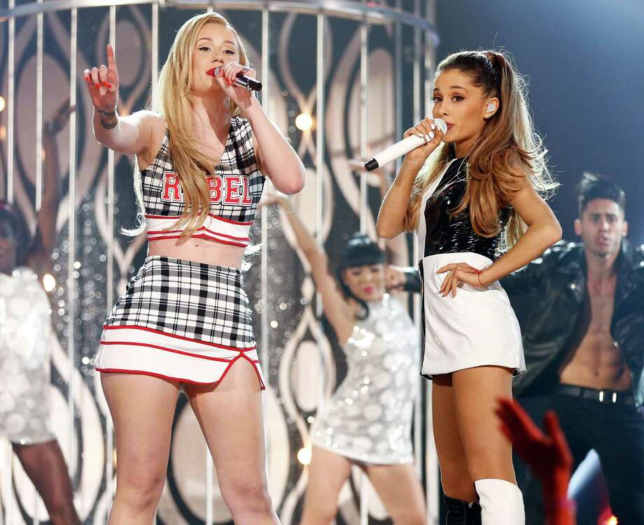 Recording artists Iggy Azalea (L) and Ariana Grande perform onstage during the 2014 Billboard Music Awards at the MGM Grand Garden Arena on May 18, 2014 in Las Vegas, Nevada. Photo: Christopher Polk/Billboard Awards 2014, Getty Images / 2014 Christopher Polk/Billboard Awards 2014