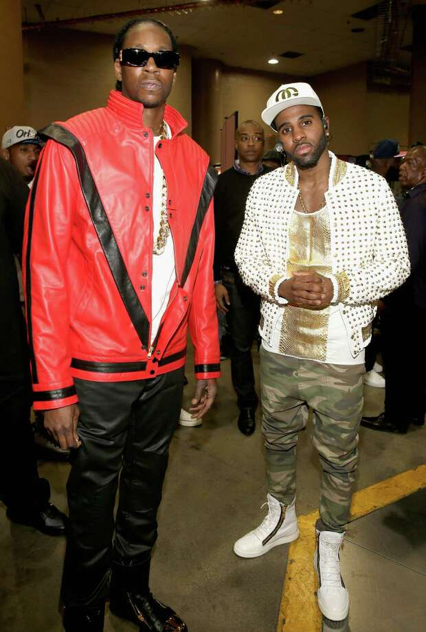 Recording artists 2 Chainz (L) and Jason Derulo   attend the 2014 Billboard Music Awards at the MGM Grand Garden Arena on May 18, 2014 in Las Vegas, Nevada. Photo: Isaac Brekken/Billboard Awards 2014, Getty Images / 2014 Isaac Brekken/Billboard Awards 2014