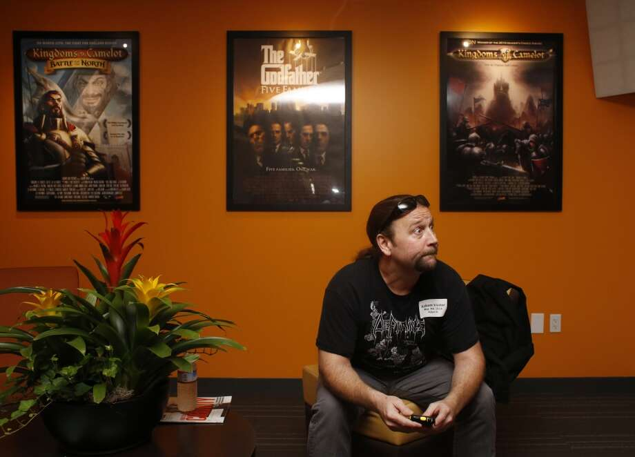 Ready to record the voice a barbarian for a new mobile roll playing game, voice over actor Adam Harrington waits in the lobby at Kabam in San Francisco. Photo: Mike Kepka, The Chronicle