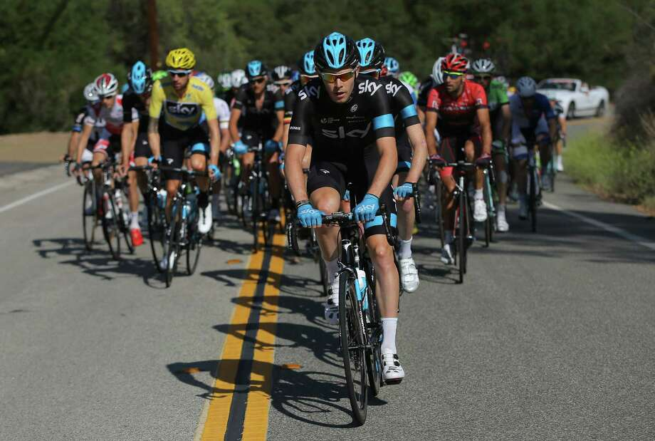 THOUSAND OAKS, CA - MAY 18:  Luke Rowe of Great Britain riding for Team Sky drives the peloton as they defend the overall race leader's yellow jersey for Sir Bradley Wiggins of Great Britain riding for Team Sky during stage eight of the 2014 Amgen Tour of California on May 18, 2014 in Thousand Oaks, California.  (Photo by Doug Pensinger/Getty Images) Photo: Doug Pensinger / Getty Images / 2014 Getty Images