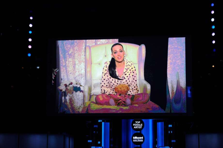 Singer Katy Perry accepts the award for Top Female Artist via satellite during the 2014 Billboard Music Awards at the MGM Grand Garden Arena on May 18, 2014 in Las Vegas, Nevada. Photo: Ethan Miller, Getty Images