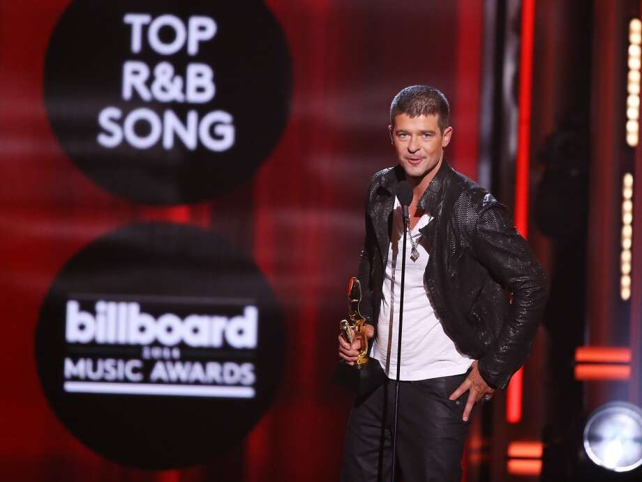 Robin Thicke accepts the award for Top R&B Song for 'Blurred Lines' onstage during the 2014 Billboard Music Awards held at MGM Grand Garden Arena on May 18, 2014 in Las Vegas, Nevada. Photo: Michael Tran, FilmMagic
