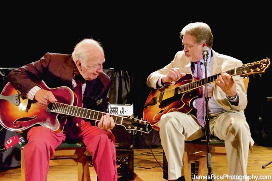Bucky Pizzarelli, left, is seen here with Ed Laub. The two will celebrate jazz in a performance on Saturday, May 24, in New Milford. The concert is a benefit for The Silo at Hunt Hill Farm, also in New Milford. Photo: Contributed Photo / The News-Times Contributed