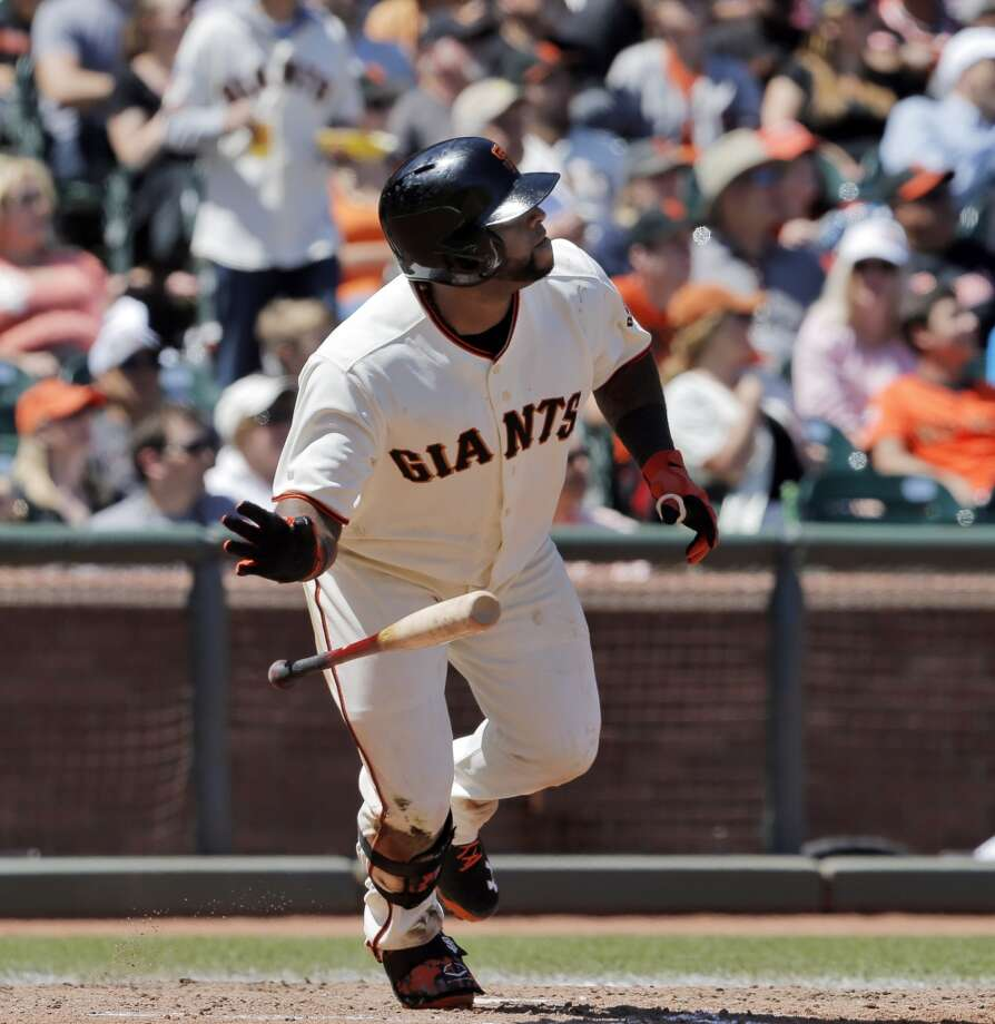 Pablo Sandoval (48) drops his bat after he hit a solo homerun in the fifth inning. The San Francisco Giants played the Miami Marlins at AT&T Park in San Francisco, Calif., on Sunday, May 18, 2014. The Giants won 4-1. Photo: The Chronicle