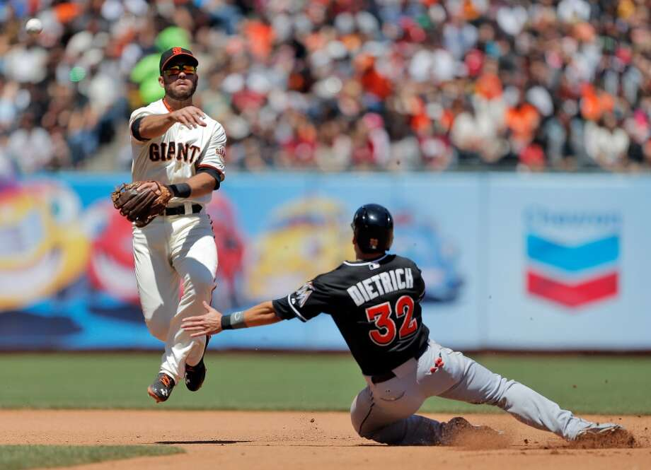 Brandon Hicks follows through on a double play in the fourth inning. The San Francisco Giants played the Miami Marlins at AT&T Park in San Francisco, Calif., on Sunday, May 18, 2014. The Giants won 4-1. Photo: The Chronicle