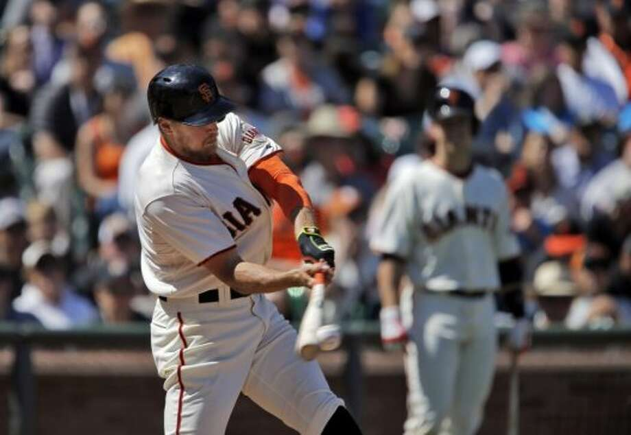 Hunter Pence (8) connects for a single in the eighth inning. The San Francisco Giants played the Miami Marlins at AT&T Park in San Francisco, Calif., on Sunday, May 18, 2014. The Giants won 4-1. Photo: The Chronicle