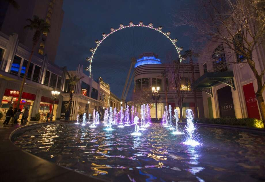 The LINQ development with the Las Vegas High Roller in the background during the inaugural lighting ceremony. Photo: Jeff Scheid, Associated Press