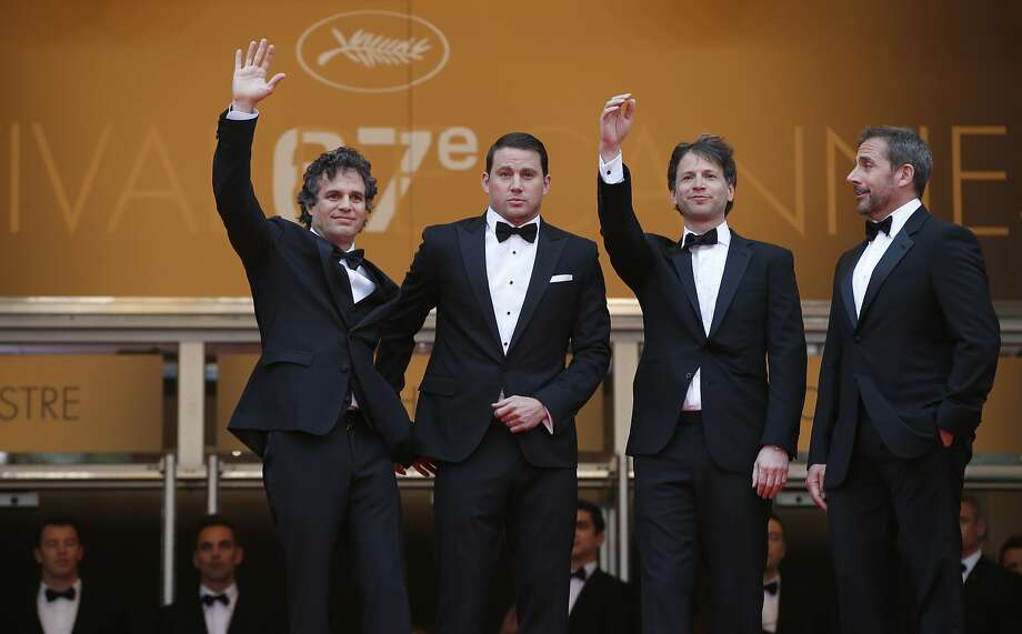 From left, actor Mark Ruffalo, actor Channing Tatum, director Bennett Miller, and actor Steve Carell pose for photographers as they arrive for the screening of Foxcatcher at the 67th international film festival, Cannes, southern France, Monday, May 19, 2014.  Photo: Alastair Grant, Associated Press