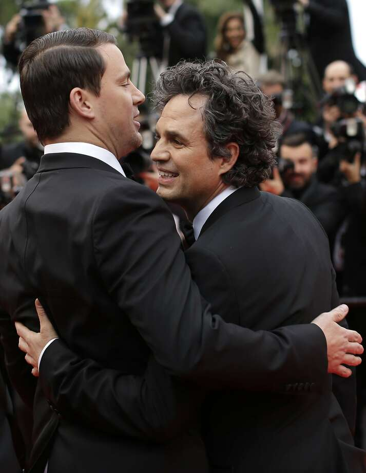 Actor Mark Ruffalo, right, and actor Channing Tatum pose for photographers as they arrive for the screening of Foxcatcher at the 67th international film festival, Cannes, southern France, Monday, May 19, 2014.  Photo: Thibault Camus, Associated Press