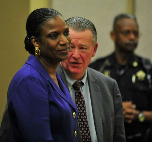 Suspended Beaumont ISD employee Jessie Haynes on Monday entered County Court 3, charged with obstructing a public passageway, a class B misdemeanor. Haynes blocked a school board trustee and reporter from entering a hallway Aug. 1 in the district's administration building, a surveillance video showed. Photo by Cassie Smith/@smithcassie. Photo taken Monday, May 19, 2014.