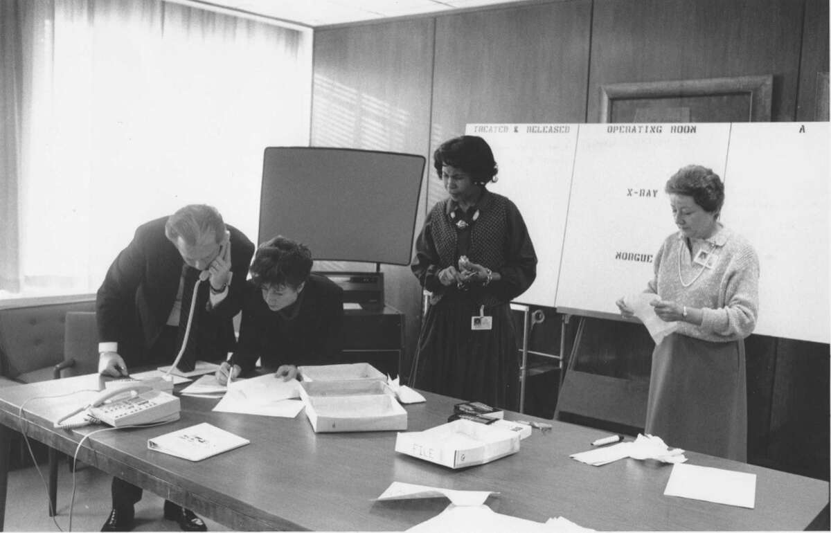 Officials participate in a December 1988 disaster drill at Greenwich Hospital. From left are Frank Corvino, Rene Hobbs, Dolores Perry and Joan Kaiser.