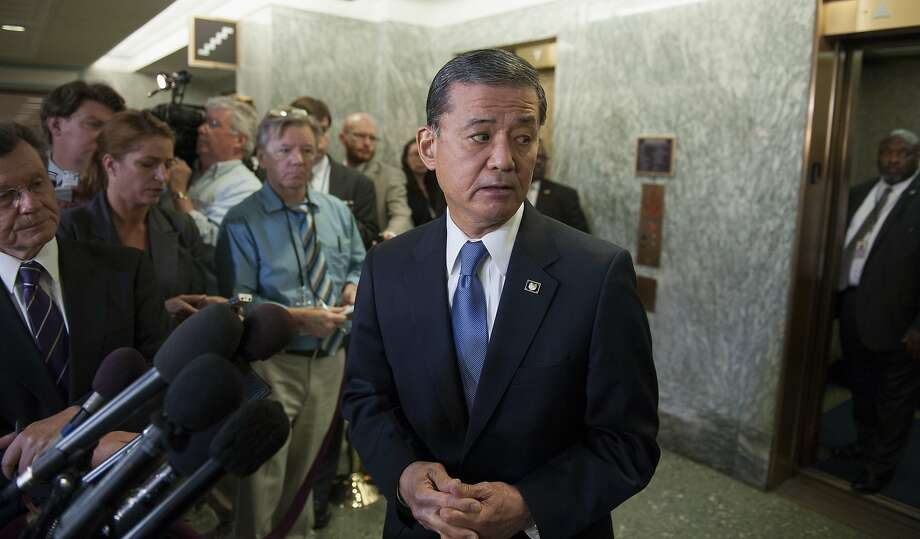 Veterans Affairs Secretary Eric Shinseki speaks with the news media on Capitol Hill in Washington, Thursday, May 15, 2014, after testifying before the Senate Veterans Affairs Committee hearing to examine the state of Veterans Affairs health care. Facing calls to resign, Shinseki said Thursday that he hopes to have a preliminary report within three weeks on how widespread treatment delays and falsified patient scheduling reports are at VA facilities nationwide, following allegations that up to 40 veterans may have died while awaiting treatment at the Phoenix VA center.  (AP Photo/Cliff Owen) Photo: Cliff Owen, Associated Press