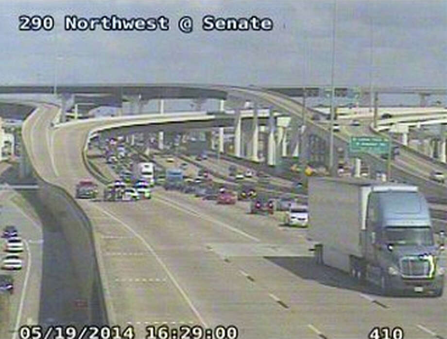 An accident involving two vehicles  lead to the closure of all but two westbound main lanes of U.S. 290 at Senate. Photo: Houston Transtar