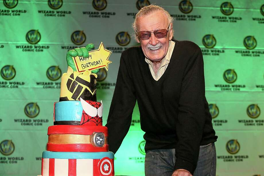 AUSTIN, TX - NOVEMBER 23:  Stan Lee is presented with a birthday cake for his 91st birthday which is on December 28th during the Wizard World Austin Comic Con at the Austin Convention Center on November 23, 2013 in Austin, Texas.  (Photo by Gary Miller/FilmMagic) Photo: Gary Miller, Contributor / 2013 Gary Miller