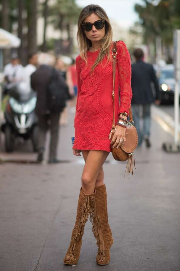 Erica Pelosini is wearing a Isabel Marant dress on the streets of Cannes during the 67th Annual Cannes Film Festival on May 16, 2014. Photo: Timur Emek, French Select Via Getty Images