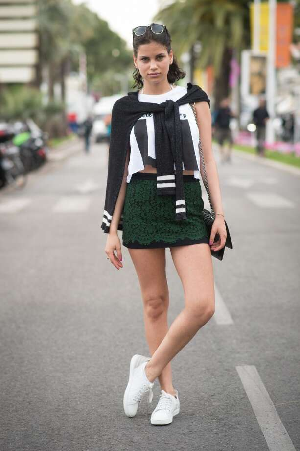 Sandra Kaminska is wearing a skirt from Dolce Gabbana and shoes from Louis Vuitton on the streets of Cannes during the 67th Annual Cannes Film Festival on May 16, 2014. Photo: Timur Emek, French Select Via Getty Images